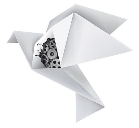 Denkbeeldige mechanische origami duif met een gat in de vleugel, onthullende versnellingen Vector illustratie Stock Illustratie