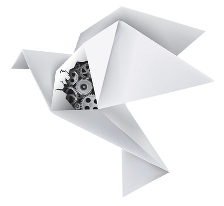 Imaginary mechanical origami pigeon with a hole in the wing, revealing gears  Vector illustration