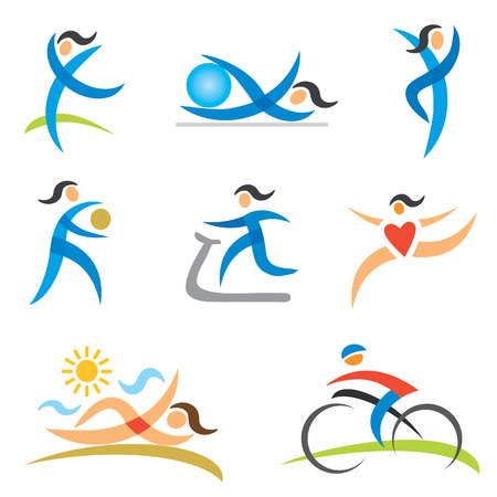 Icons with a woman in sport and healthy lifestyle activities Vector illustration