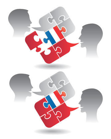 pronounce: Two students and Puzzle bubble talk with a Franch flag symbolizing French conversation and understanding Vector illustration