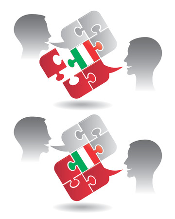 translating: Two students and Puzzle bubble talk with a Italian flag symbolizing Italian conversation and understanding Vector illustration