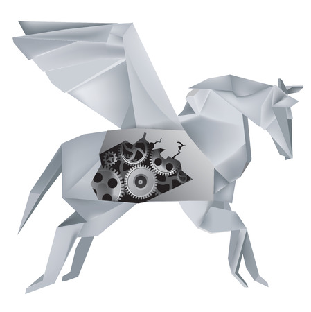 hull: Imaginary mechanical origami Pegasus with a hole in the hull, revealing gears   Vector illustration