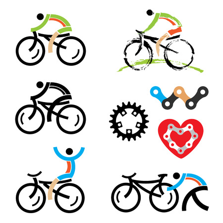 Colorful cycling and mountain biking icons   Vector illustration Vectores
