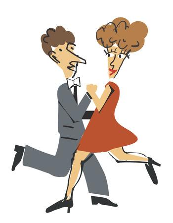 Young couple dancing ballroom dance  Vector illustration
