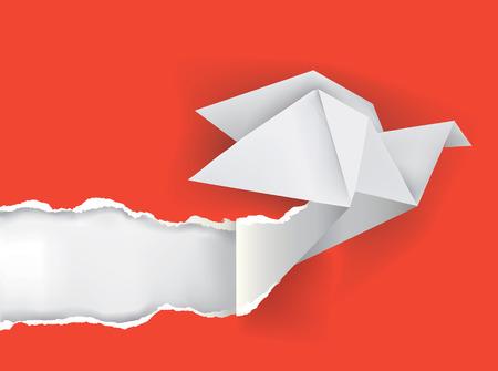 Vector illustration of Origami bird ripping paper  Vettoriali
