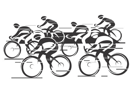 cycling race: Black white background  - cycling race with six bike riders   Illustration