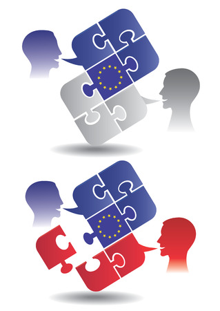 pronounce: Dialogue between members of the European Union  Vector illustration