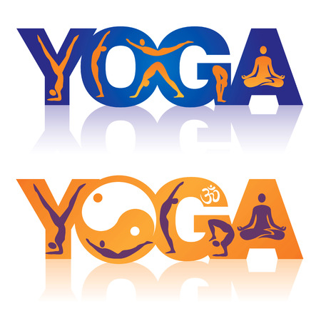 Two colorful Words Yoga decorated with icons yoga theme  Vector illustration