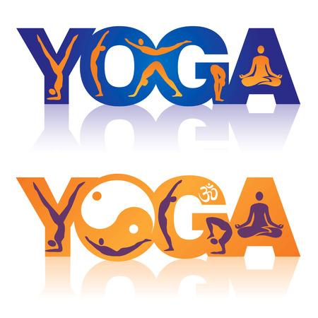 Twee kleurrijke woorden Yoga versierd met iconen yoga thema Vector illustratie Stock Illustratie