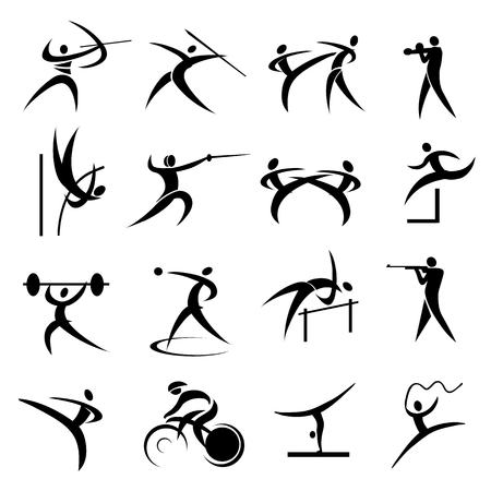 javelin: Set of Simple summer games icons
