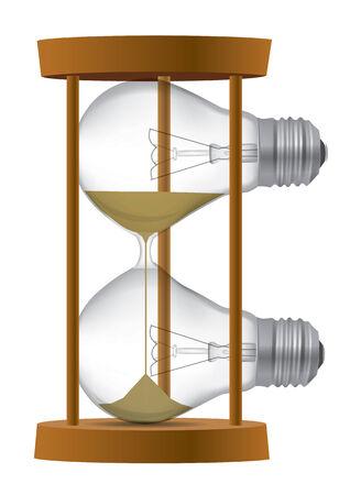 sand timer: Light bulb Sand timer symbolizing the  end of  incandescent  light bulb or time for idea  Vector illustration  Illustration