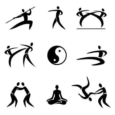 Eenvoudige Sport Pictogram Aziatische vechtsporten Icons Vector illustratie Stock Illustratie