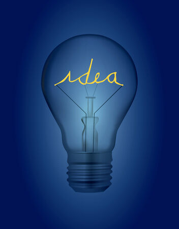Incandescent electric lamp, bulb with lighting idea inscription, symbolizing creativity  Vector illustration on the dark blue background
