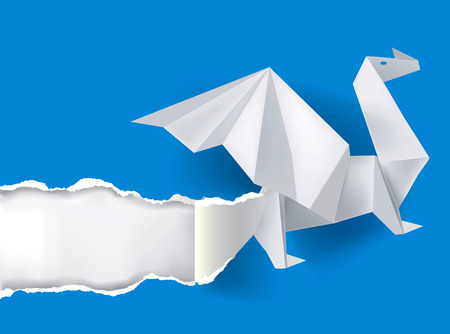 revelation: Illustration of Origami dragon ripping paper with place for your image or text  Theme symbolizing revelation, uncovered, power