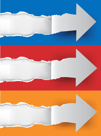 backgroud: Vector illustration of paper arrows  ripping paper background with place for your image or text  Illustration