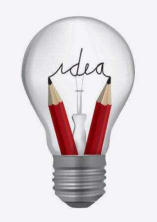 Light bulb with pencils symbolizing creativity Vector illustration  Illustration