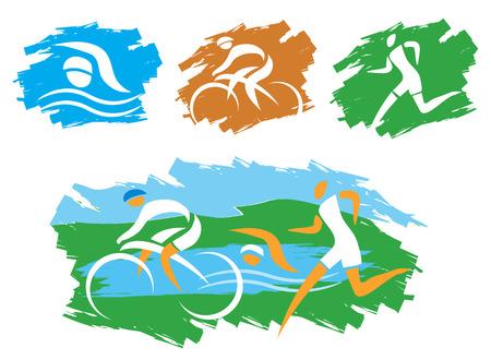 swim race: Los iconos que simbolizan el triatl�n, la nataci�n, correr y montar en bicicleta y deportes al aire libre Ilustraci�n Vectores
