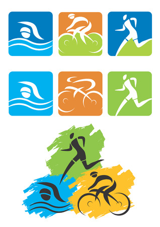 Icons symbolizing triathlon, swimming, cycling and outdoor sports  Vector illustration
