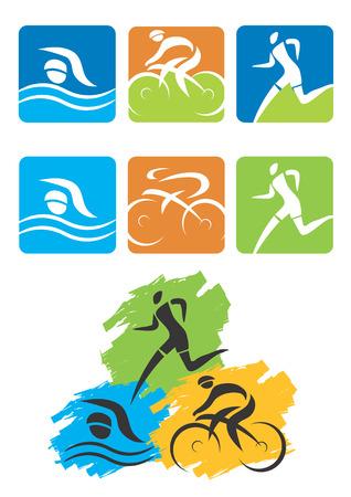 swim race: Los iconos que simbolizan el triatl�n, la nataci�n, el ciclismo y los deportes al aire libre ilustraci�n vectorial