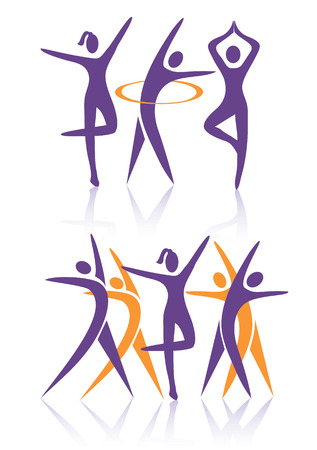 dance fitness: Silhouettes of Two groups of women practicing fitness activities  Vector illustration