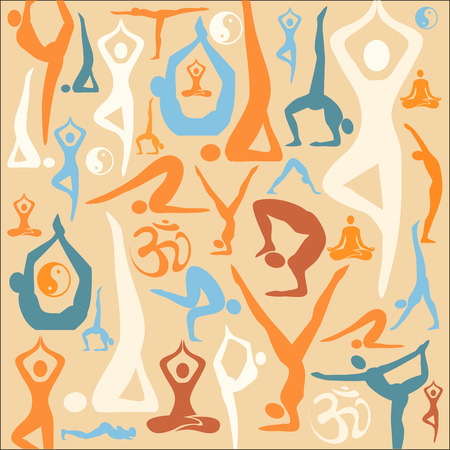 Decorative background with yoga symbols and positions  Vector illustration