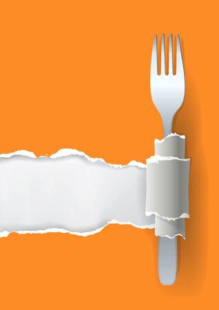 facture restaurant: Illustration de papier d�chir� avec couche de fond pour votre image ou un texte, avec Concept fourche pour la conception de restaurant