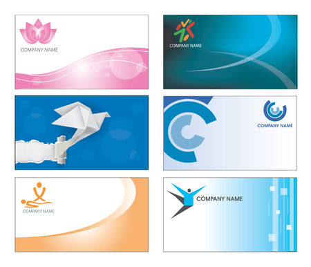 masseur: Collection of six corporate business card templates in multicolor design  Illustration