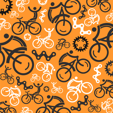 Colorful cycling background with cycling icons  Vector illustrations  Vector