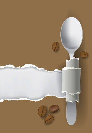 recipe book: Illustration of ripped paper with bottom layer for your image or text, with silver spoon and coffee beans  Concept for restaurant design  Illustration