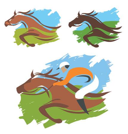 馬とジョッキー表情豊かなカラフルな背景のイラスト  イラスト・ベクター素材