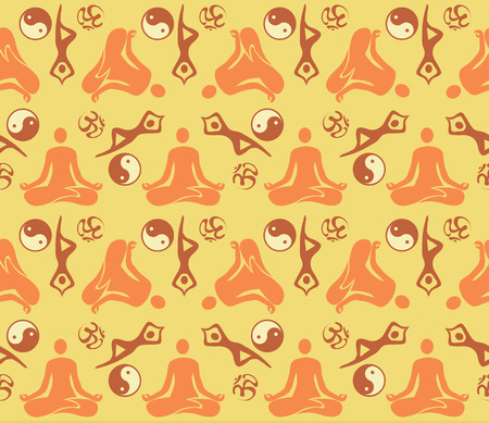 Decorative pattern background with yoga symbols and positions  Vector illustration