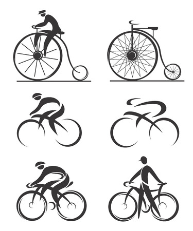 Differently styled icons of contemporary and historical bicycles and cyclists  Illustration    Vectores