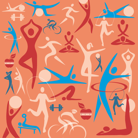 bicycler: Decorative colorful background with fitness symbols  Vector illustration