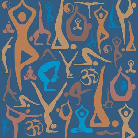 jing: Decorative background with yoga symbols and positions  Vector illustration