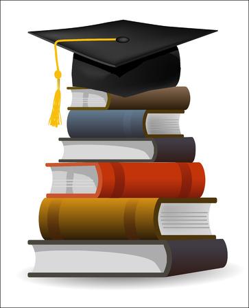 doctorate: Six books and graduation cap as symbol of graduation  Editable vector illustration  Illustration