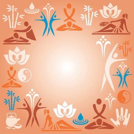 simbolo de la mujer: Marco decorativo con iconos de masaje y spa Ilustraci�n vectorial Vectores