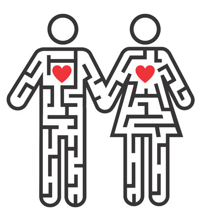 allegory: Maze shaped as heterosexual couple pictogram symbolizing searching for love