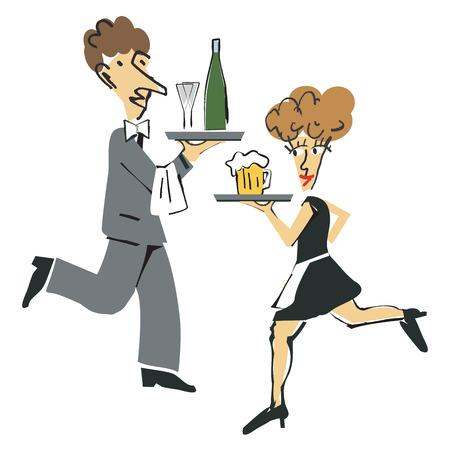 bringing: Waiter and  waitress bringing drinks  Vector illustration