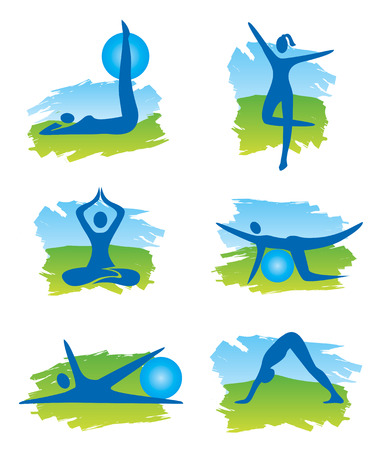 Set of fitness symbols on the colorful background imitating watercolors  Vector illustration  Vector