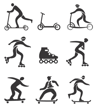 Scooter in line skateboard black icons Vector