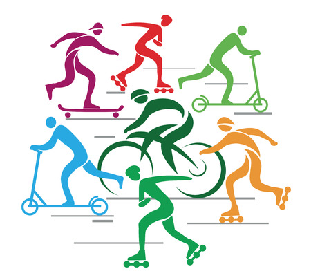 inline skater: Vector background with people riding bike, scooter, in line skate   Illustration