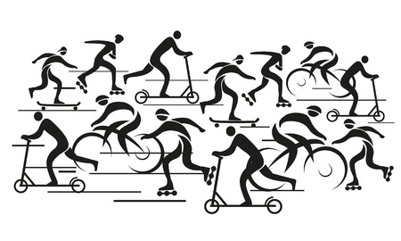 Vector background with people riding bike, scooter, in line skate   Vector