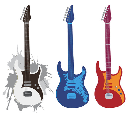 electric guitar: Three colorful stylized electric guitars  Vector illustration