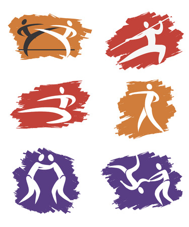 martial art: Simple Asian Martial Arts Icons on the grunge background  Vector illustration