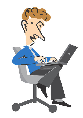 Young Businessman with notebook sitting on the Chair  Vector illustration cartoon