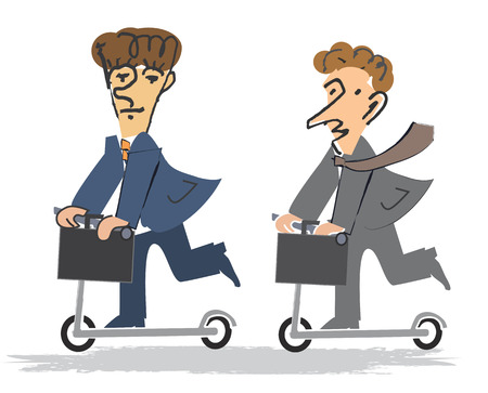 going crazy: Two Businessmen with a briefcase riding a scooter  Vector illustration cartoon  Illustration