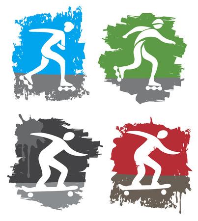 Set of four colorful grunge symbols of in-line skating and skateboarding  Vector illustration  Vector