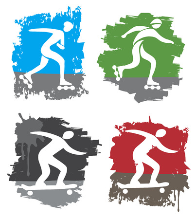skateboarding tricks: Set of four colorful grunge symbols of in-line skating and skateboarding  Vector illustration
