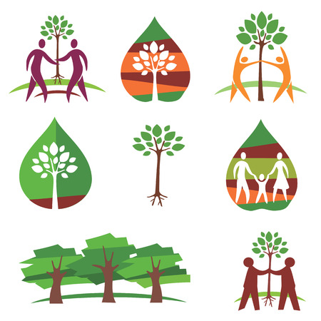 tree planting: Nine colorful symbols of trees, peoples and tree planting  Vector illustration