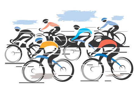 Colorful vector illustration of cycling race with six bike riders